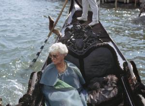 Peggy Guggenheim in her gondola, Venice, 1968.