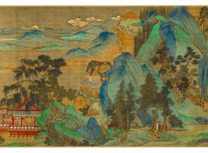 handscroll painting by qiu ying of the ming dynasty, landscape with blue mountains