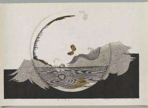 Iwami Reika print of an abstracted painting with wood grain texture