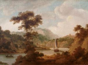 Thomas Jones landscape painting of a sailboat on the river wye