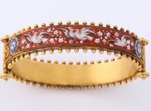 Victorian Period Bracelet, England circa 1870. 18kt Gold & Micro Mosaic. Offered by James Robinson.