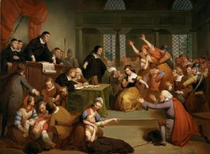 Tompkins Harrison Matteson painting of a court room full of white people in old-fashioned clothes pointing at each other and fainting