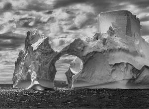 Sebastaio Salgado black and white photograph of an iceberg