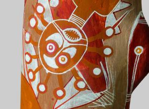 Aboriginal art. Gabriel Maralngurra, Lorrkkon (detail), 2016.