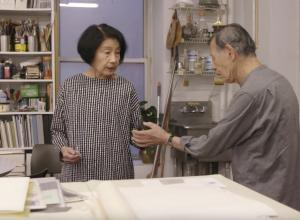 Artists Tadaaki Kuwayama and Rakuko Naito at work in their studio