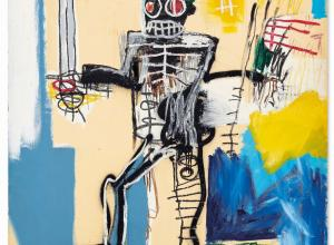 signed and dated 'Jean-Michel Basquiat 1982' (on the reverse) acrylic, oilstick and spray paint on wood panel 72 x 48 in.