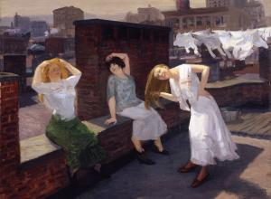 John Sloan, Sunday, Women Drying Their Hair, 1912. Oil on canvas. 26 1/8 in. x 32 1/8 in. (66.36 cm x 81.6 cm). Addison Gallery of American Art, Phillips Academy, Andover, MA.