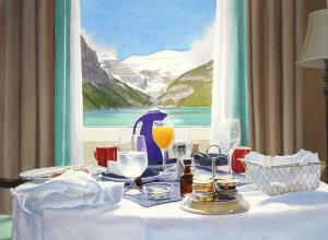 Tim Gardener painting of a room service tray of breakfast sitting in front of a window with a view of mountains and a lake