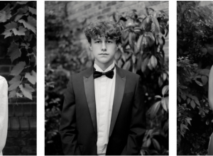 three black and white portraits of young people in formal wear