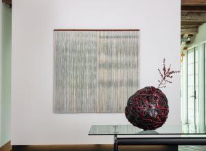 Center: Ulla-Maija Vikman, Akureyri, 2009. Painted viscose, and linen, mahogany. Bottom Right: Jiro Yonezawa, Red Fuji, 2019. bamboo, urushi lacquer.