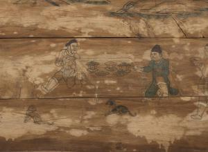 Chinese, Liao dynasty, 907–1125, Coffin box panel: Arranging an Outdoor Banquet