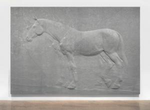 Charles Ray sculpture Two Horses bas relief in Granite, The ten-by-fourteen-foot granite relief by the acclaimed artist portrays two horses in profile, one fully articulated and a second figure behind it that is partially seen, evoking a ghost-like presence