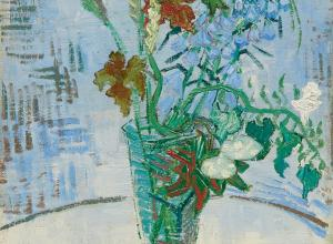 Van Gogh still life of flowers in a glass vase on a table top with a blue cross-hatched wall behind
