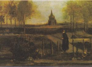 van gogh landscape of a lone figure with church ruins in the background