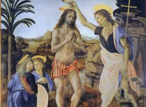 painting of christ with a halo and dove above his head with several angels, outside with a blue sky and trees