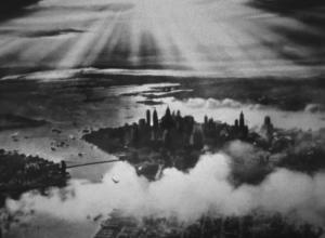 View of NYC from above, vintage black and white photo