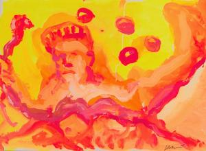 Snake in a Juggling Show painting by Jerry Garcia, c. 1990.