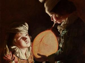Joseph Wright of Derby, Two Boys with a Bladder, oil painting