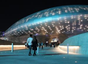 Dongdaemun Design Plaza at night, Central Seoul