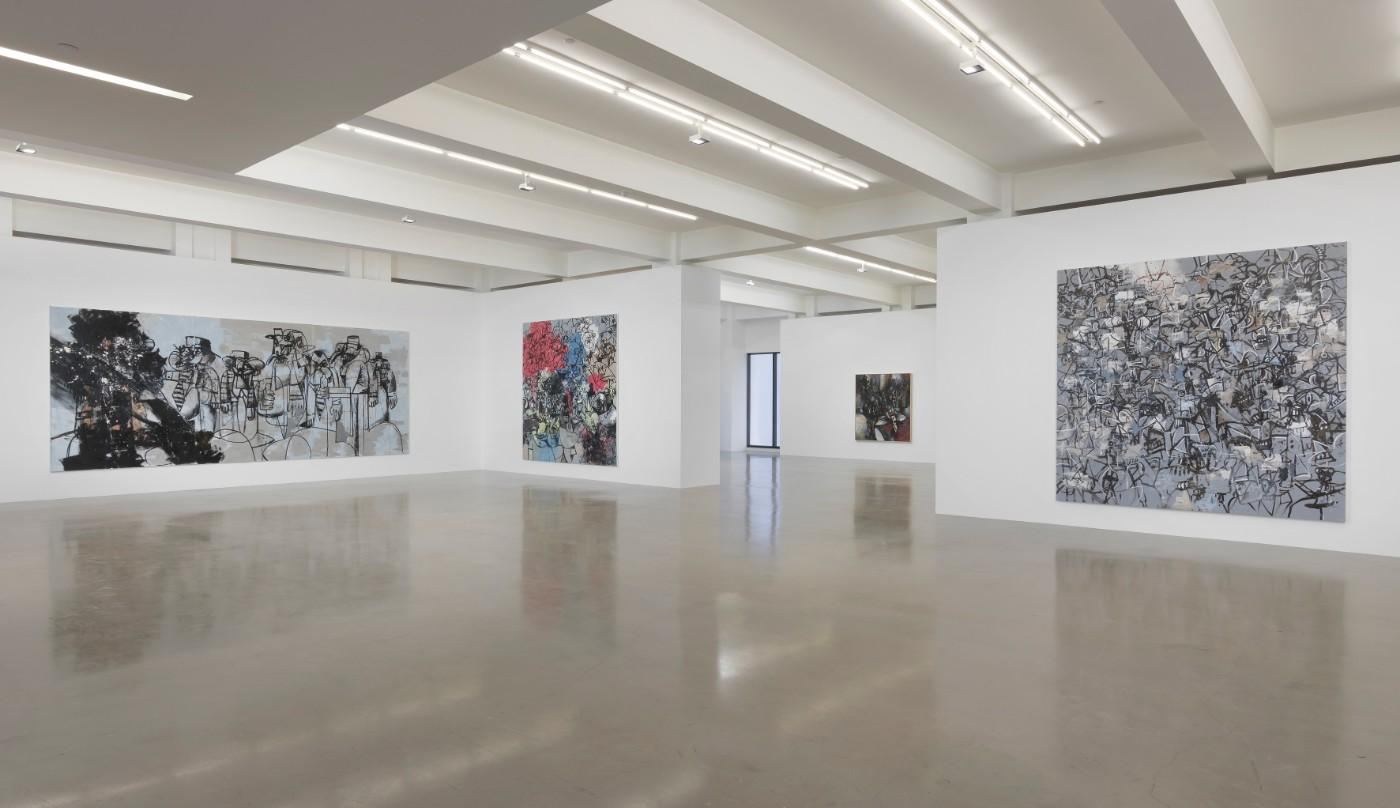 Installation view, George Condo: What's the Point?, at Sprüth Magers in Los Angeles through June 1, including Shorty and His Gang​​​​​​​, left