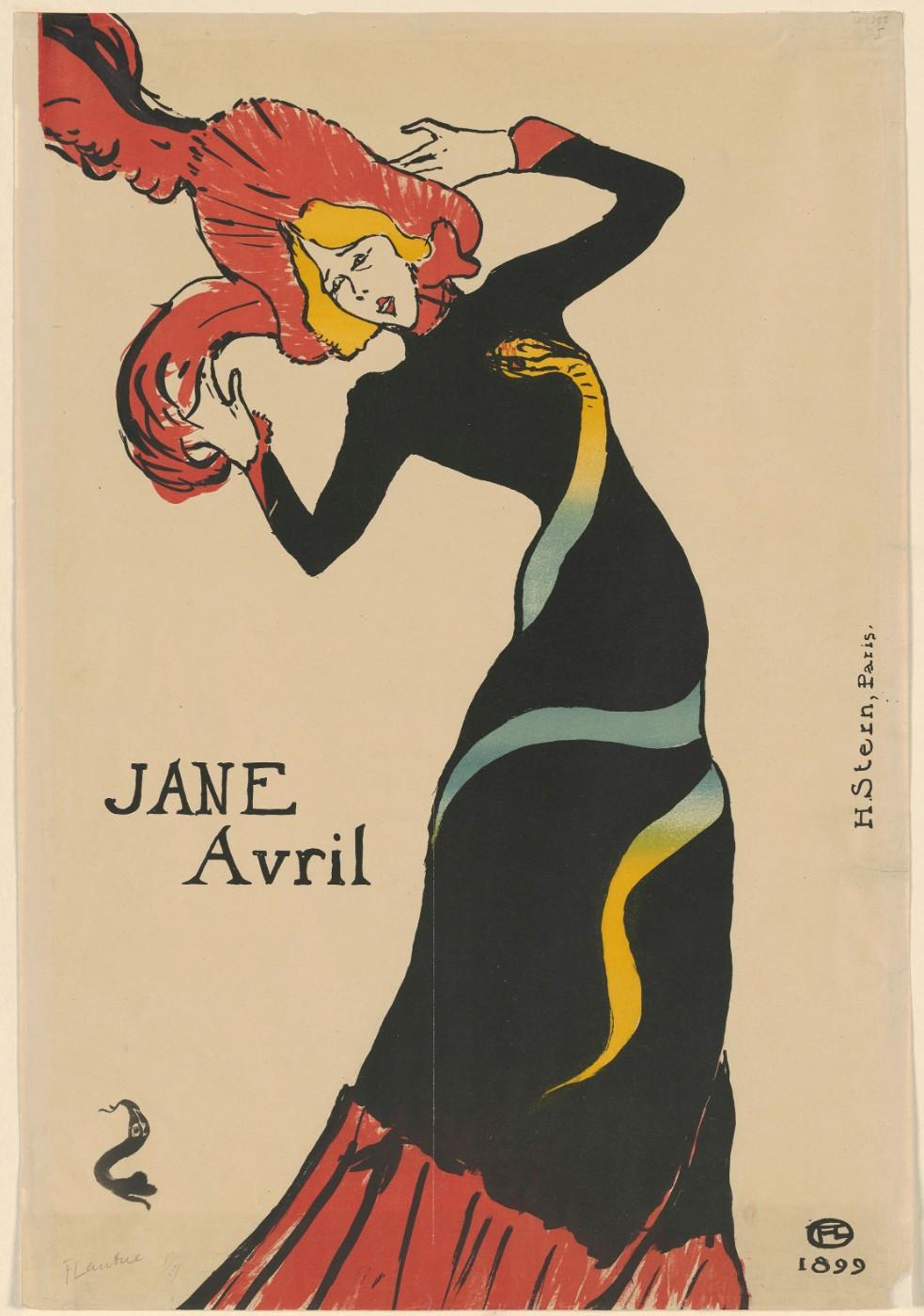Henri de Toulouse‑Lautrec (French, 1864–1901), Jane Avril, 1893,  Lithograph