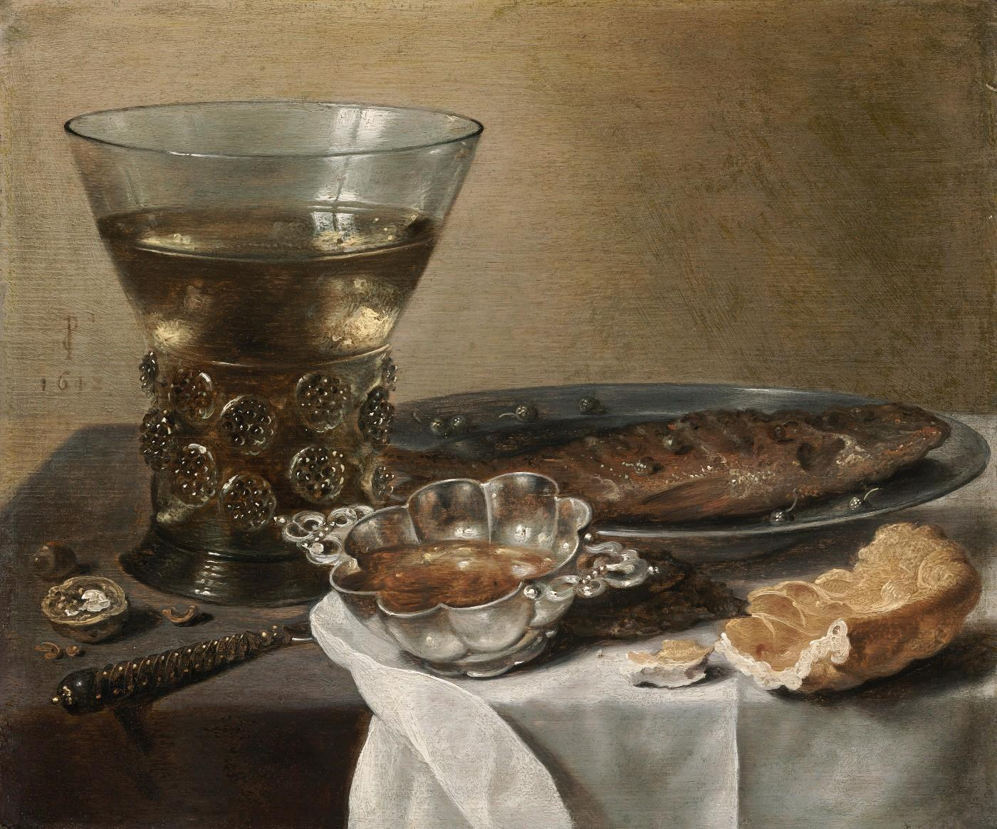 Pieter Claesz (Dutch, about 1597–1660), Still Life with Silver Brandy Bowl, Wine Glass, Herring, and Bread, 1642