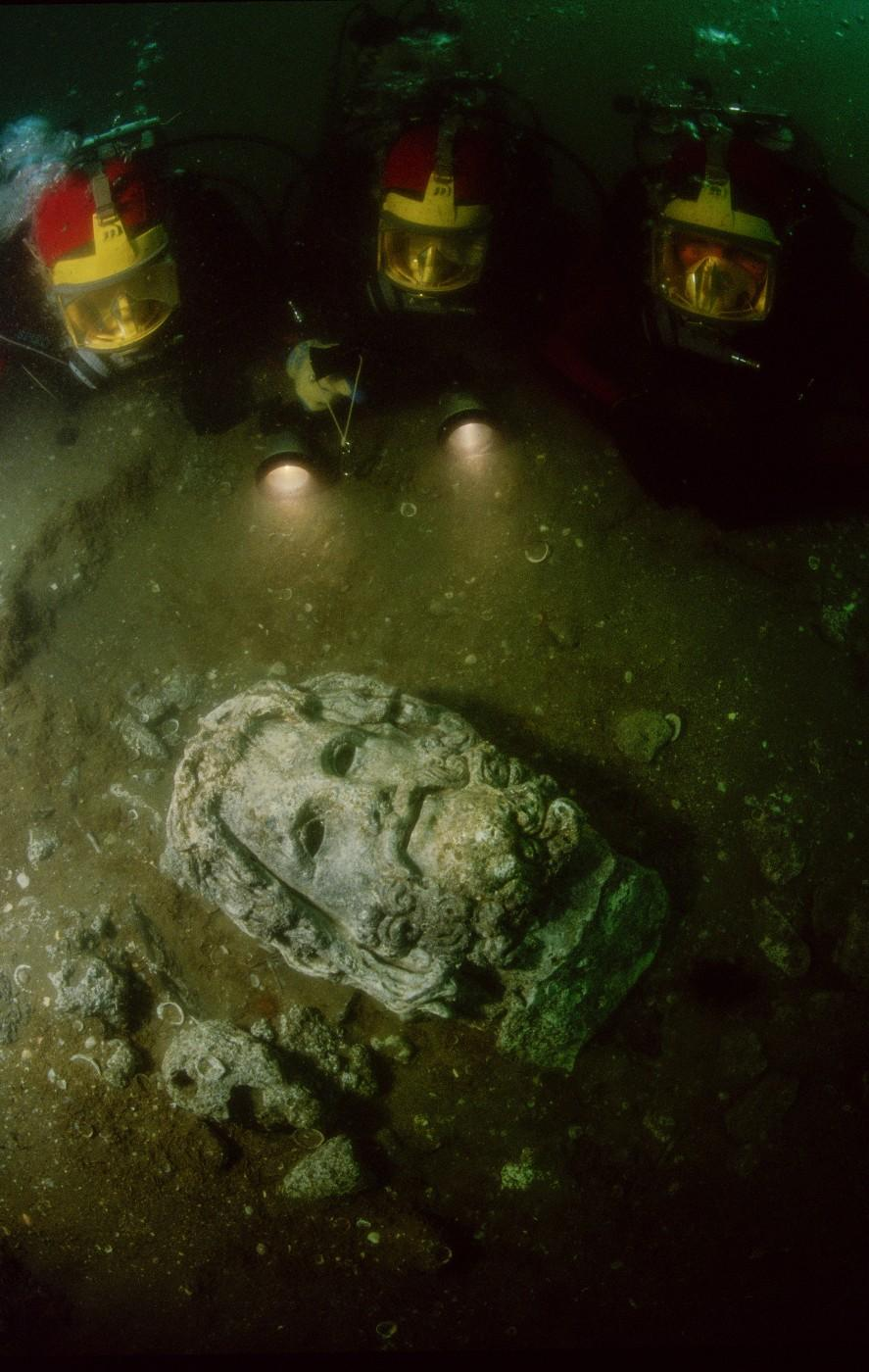 Head of Serapis underwater on site in Canopus, Canopus, Egypt