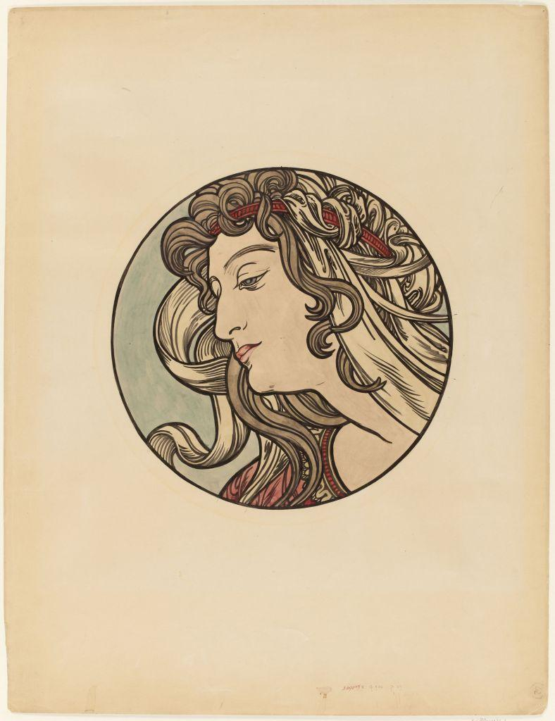 Alfons Mucha (1860–1939), Study Medallion for the Façade of the Fouquet Jewelry Shop, circa 1900