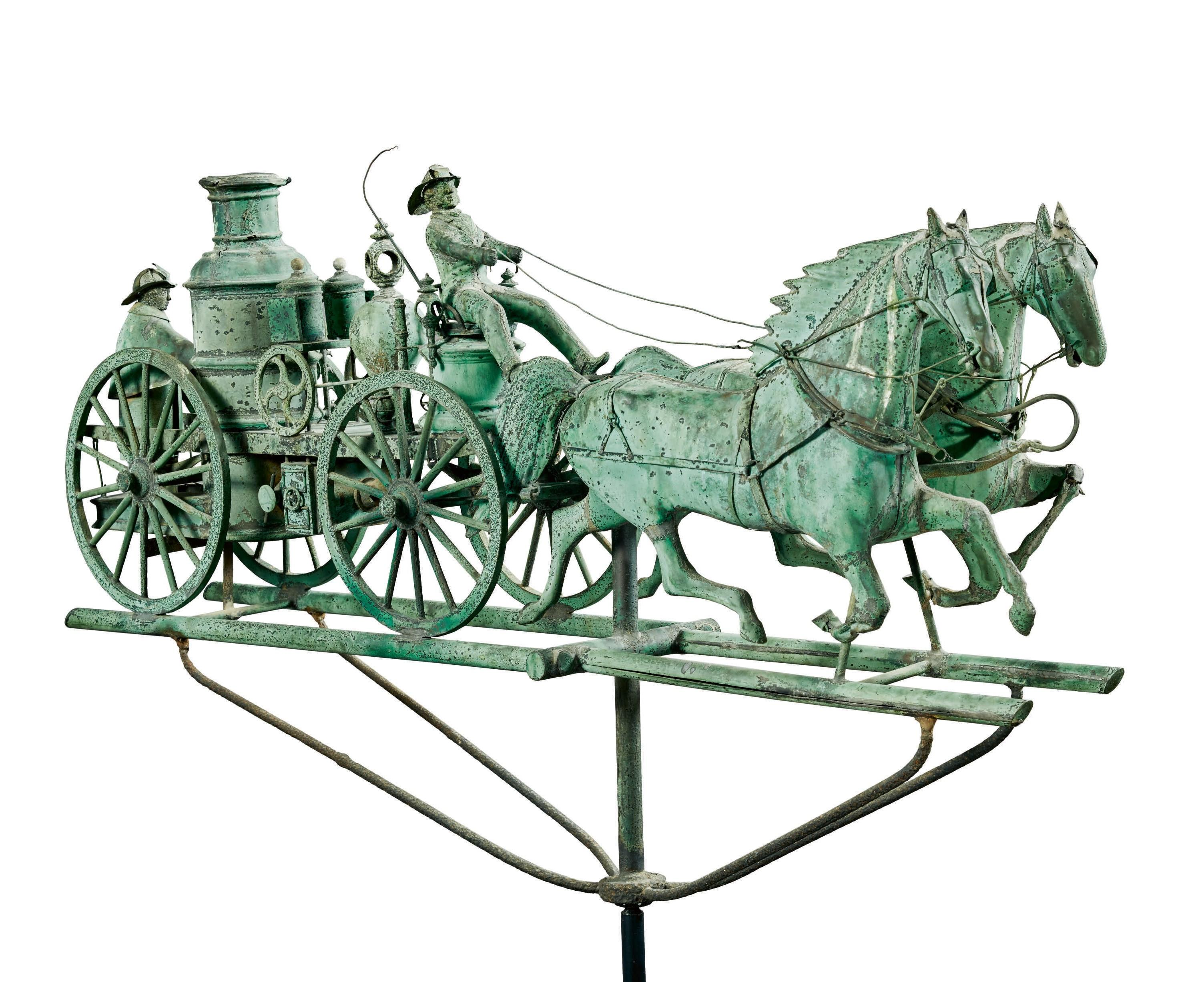 Weathervane depicting a Fire Pumper and Double-Horse Carriage