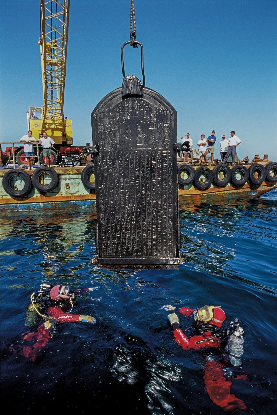 The stele of Thonis-Heracleion being raised out of the waters of the Bay Aboukir, Thonis-Heracleion, Aboukir Bay, Egypt