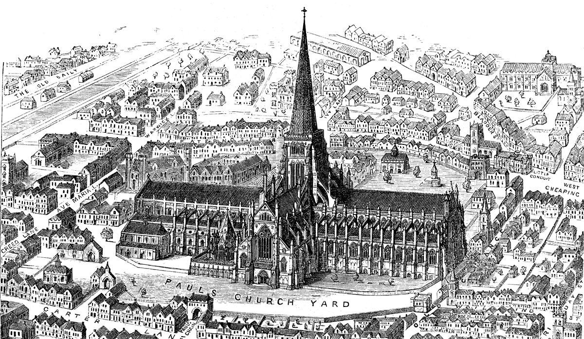 "Old St Paul's Cathedral in London from ""Early Christian Architecture"" by Francis Bond (1913)"