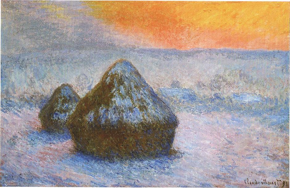 Claude Monet, Wheatstacks (Sunset, Snow Effect), 1890-91