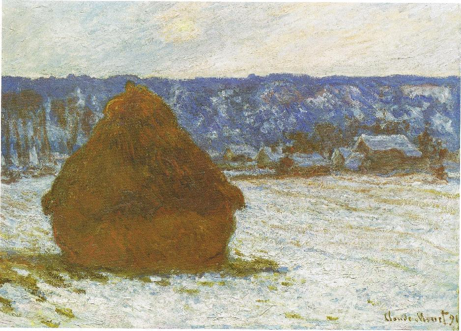 Claude Monet, Wheatstack (Snow Effect, Overcast day), 1890-91