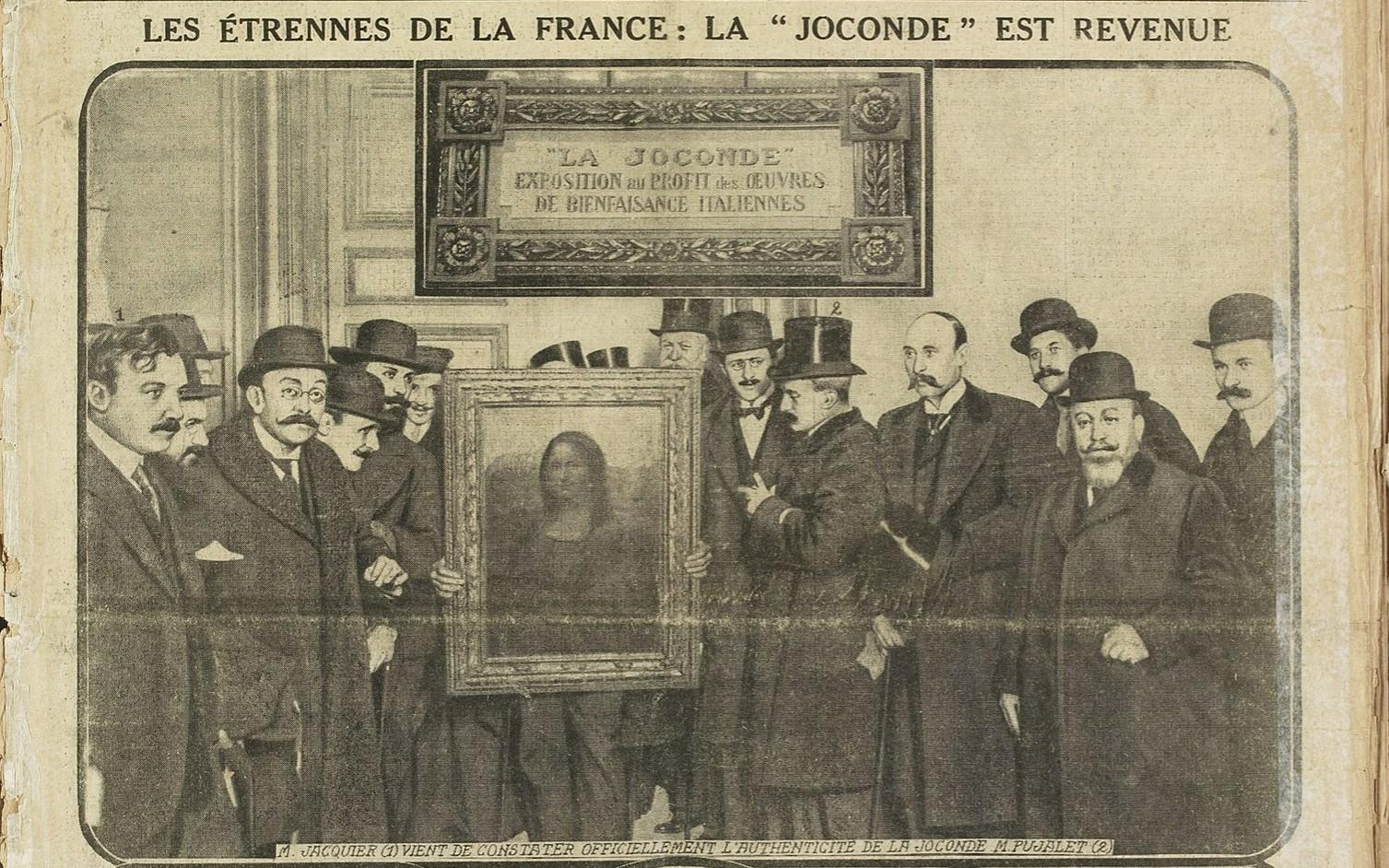Mona Lisa is returned to Louvre newspaper clipping from 1914 showing men in top hats with the painting