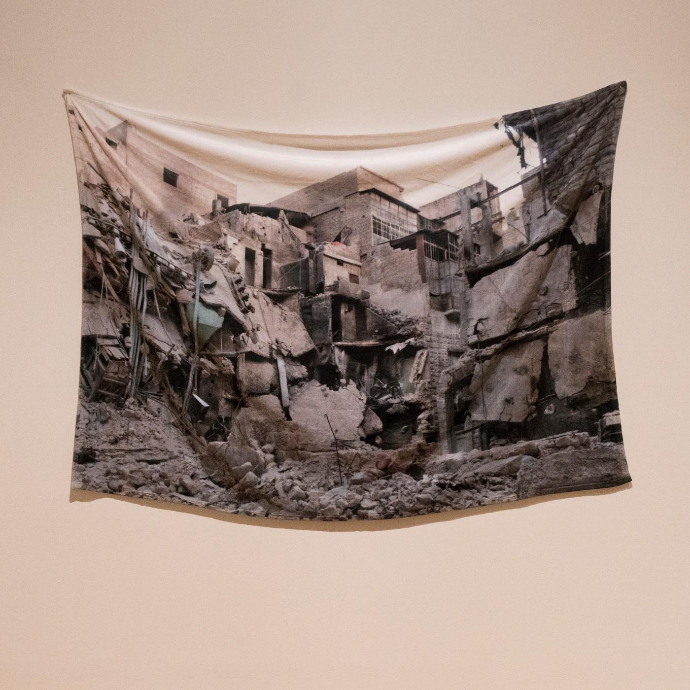 "Installation view of Essma Imady: Thicker Than Water, ""Receiving Blanket"""