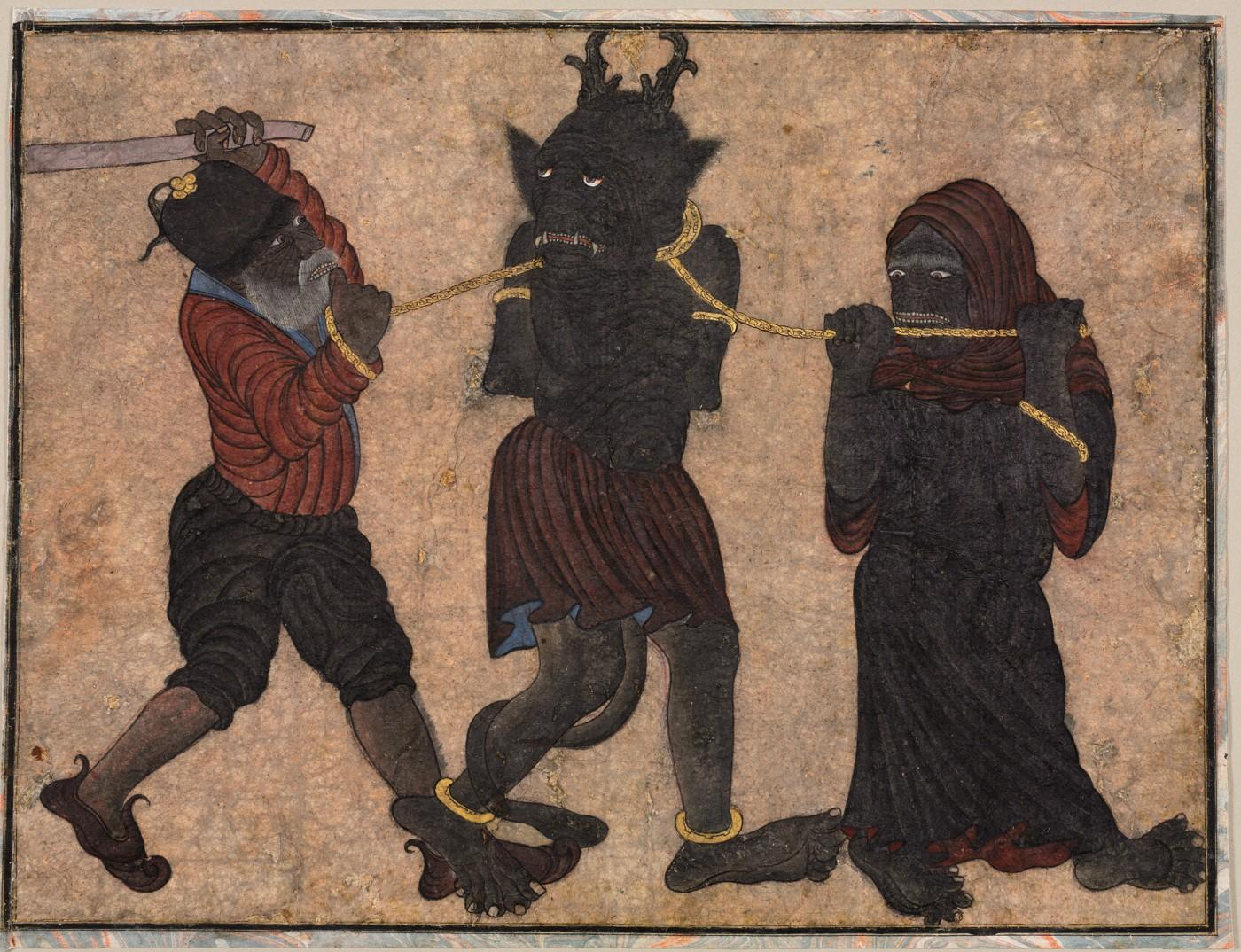 Demon in chains, c. 1453. Style of Muhammad Siya Qalam (Iranian)