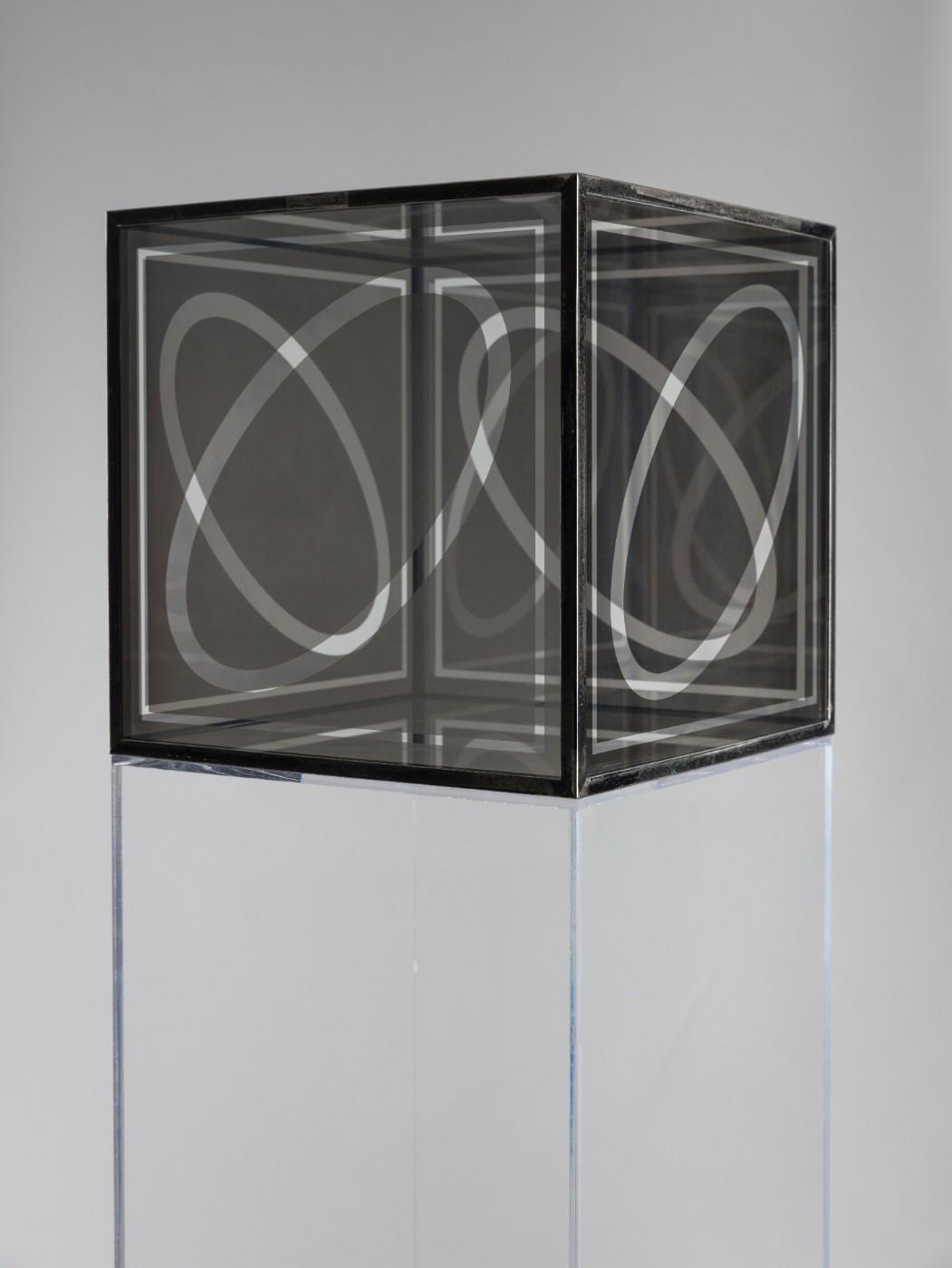 "Larry Bell, Untitled (Cube 12""), 1964. Nickel plated glass and chrome plated brass."