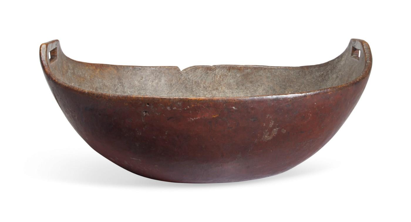 A Large Native American Red-Painted Burlwood Open-Handled Bowl, American, Possibly Northeastern Woodlands, Late 17th/Early 18th Century