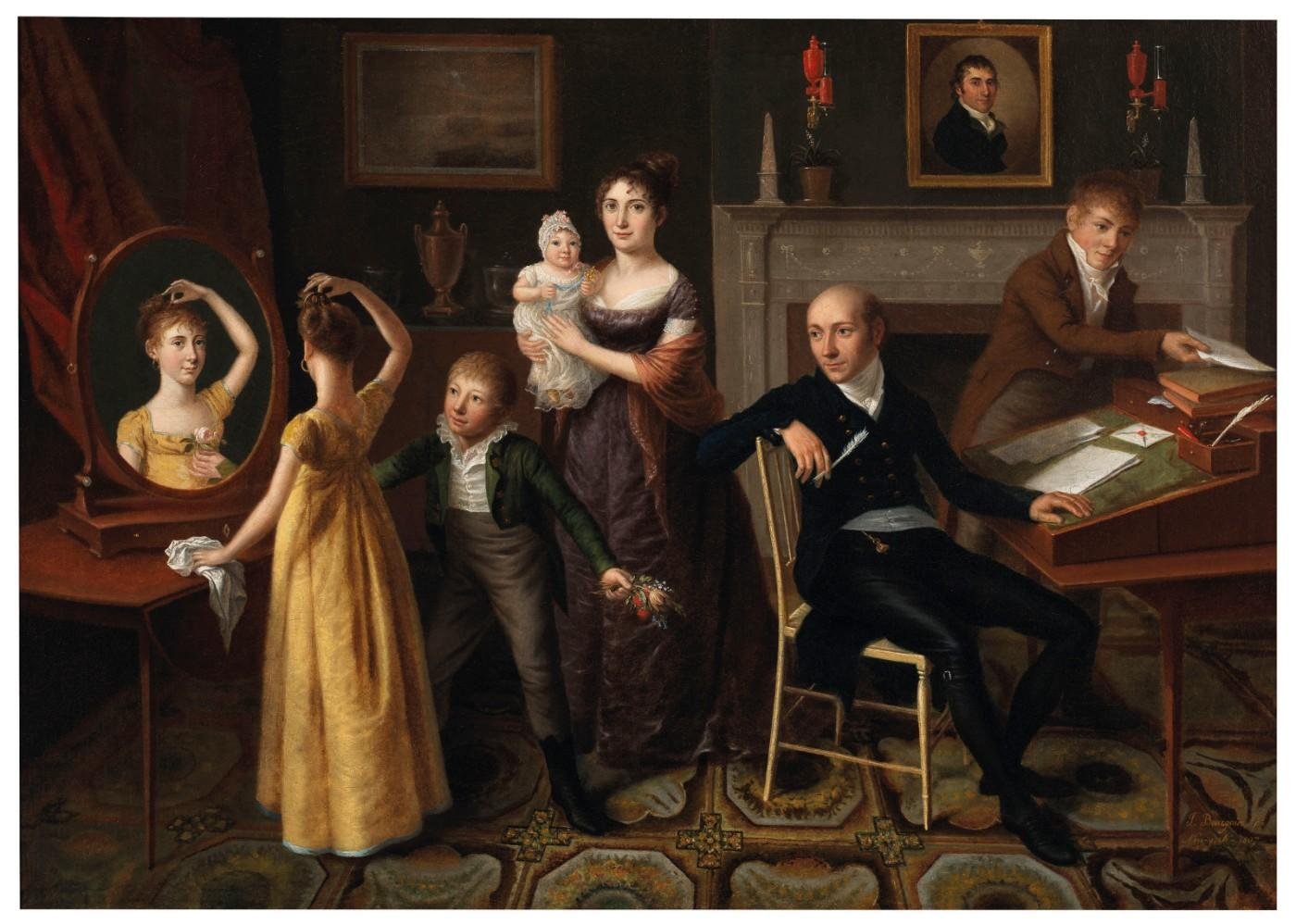 Francois-Joseph Bourgoin (active 1762-1817), Family Group in a New York Interior, 1807