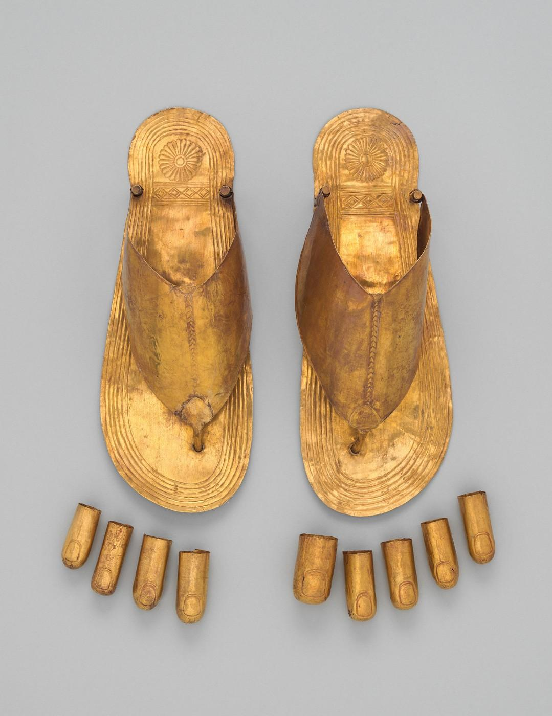 Gold Sandals and Toe Stalls. Egyptian, reign of Thutmose III, ca. 1479–1425 B.C.
