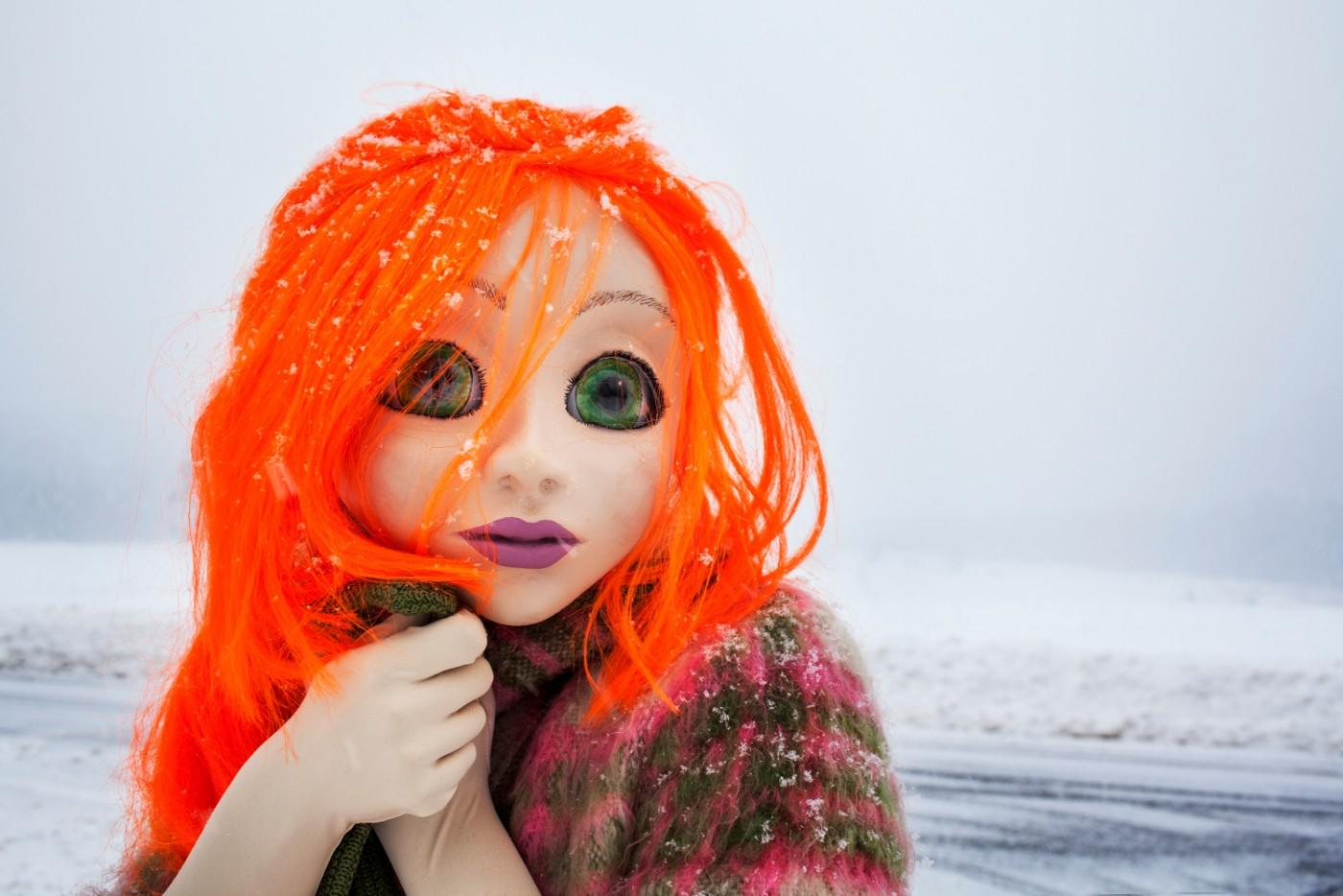 Laurie Simmons, Orange Hair/Snow/Close Up, 2014