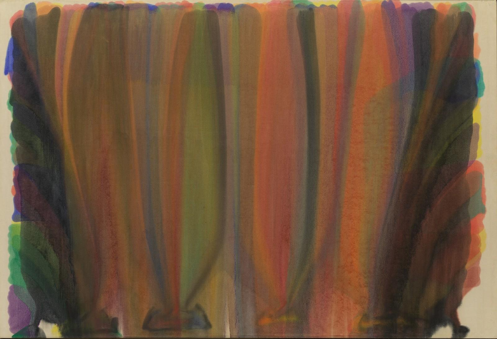 Morris Louis, 1-68, 1962. Acrylic resin on canvas abstract painting of vertical streaks of color