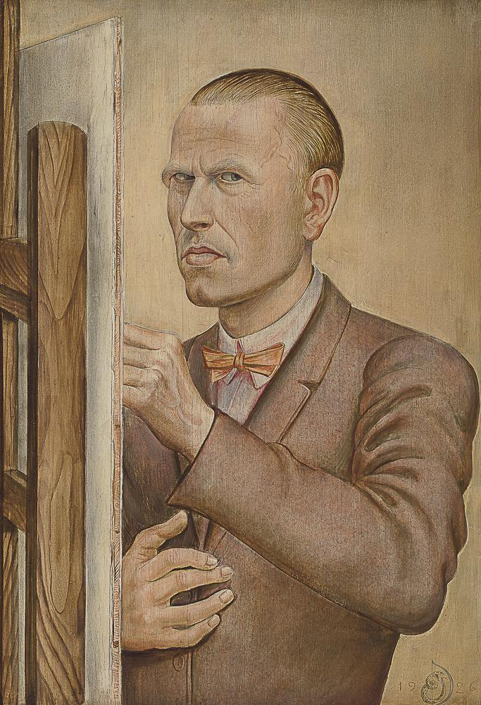 Otto Dix (1891–1969), Self-Portrait with Easel, 1926. Tempera on panel.