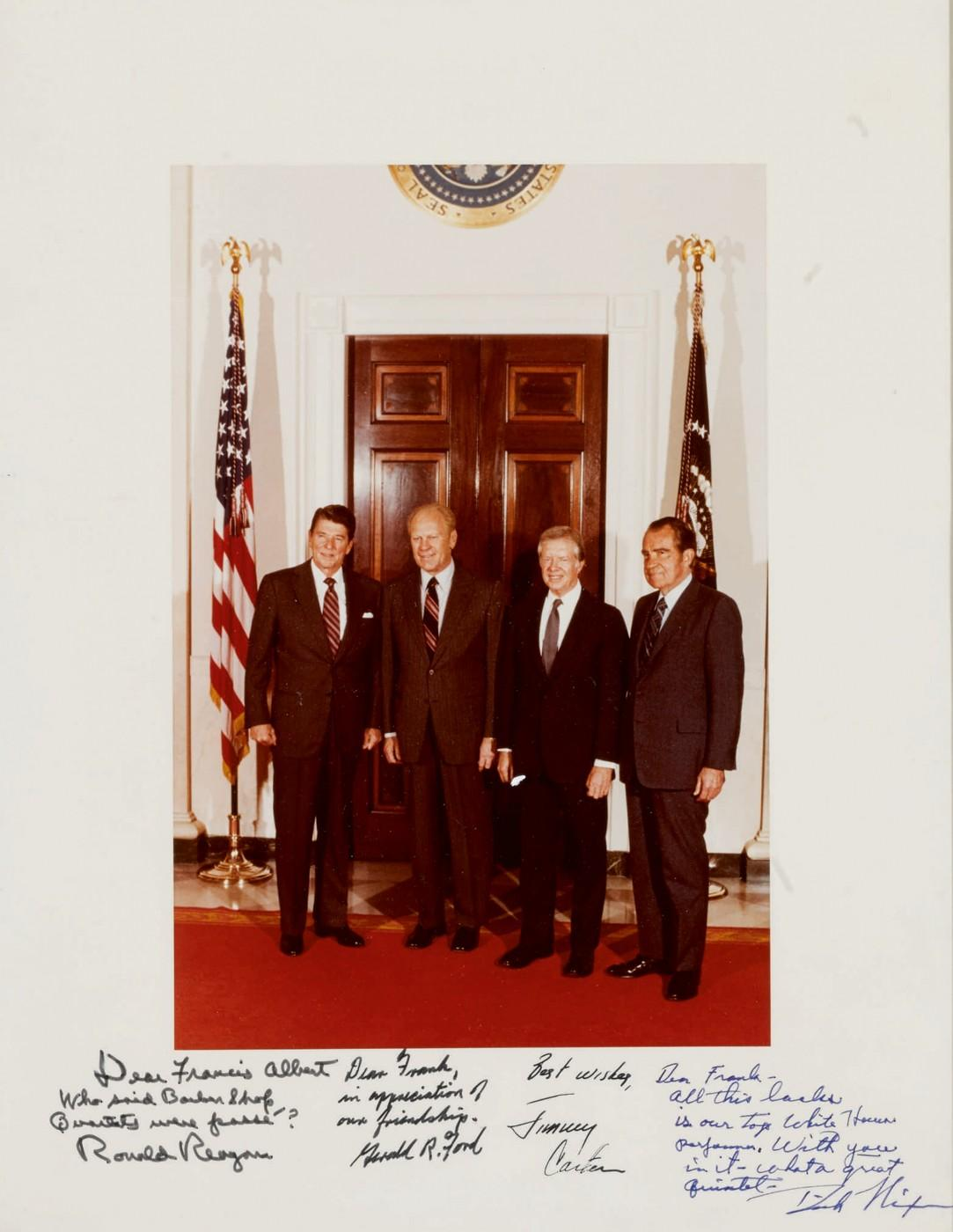 Color Photograph Inscribed to Frank Sinatra by Ronald Reagan, Gerald Ford, Jimmy Carter and Richard Nixon.