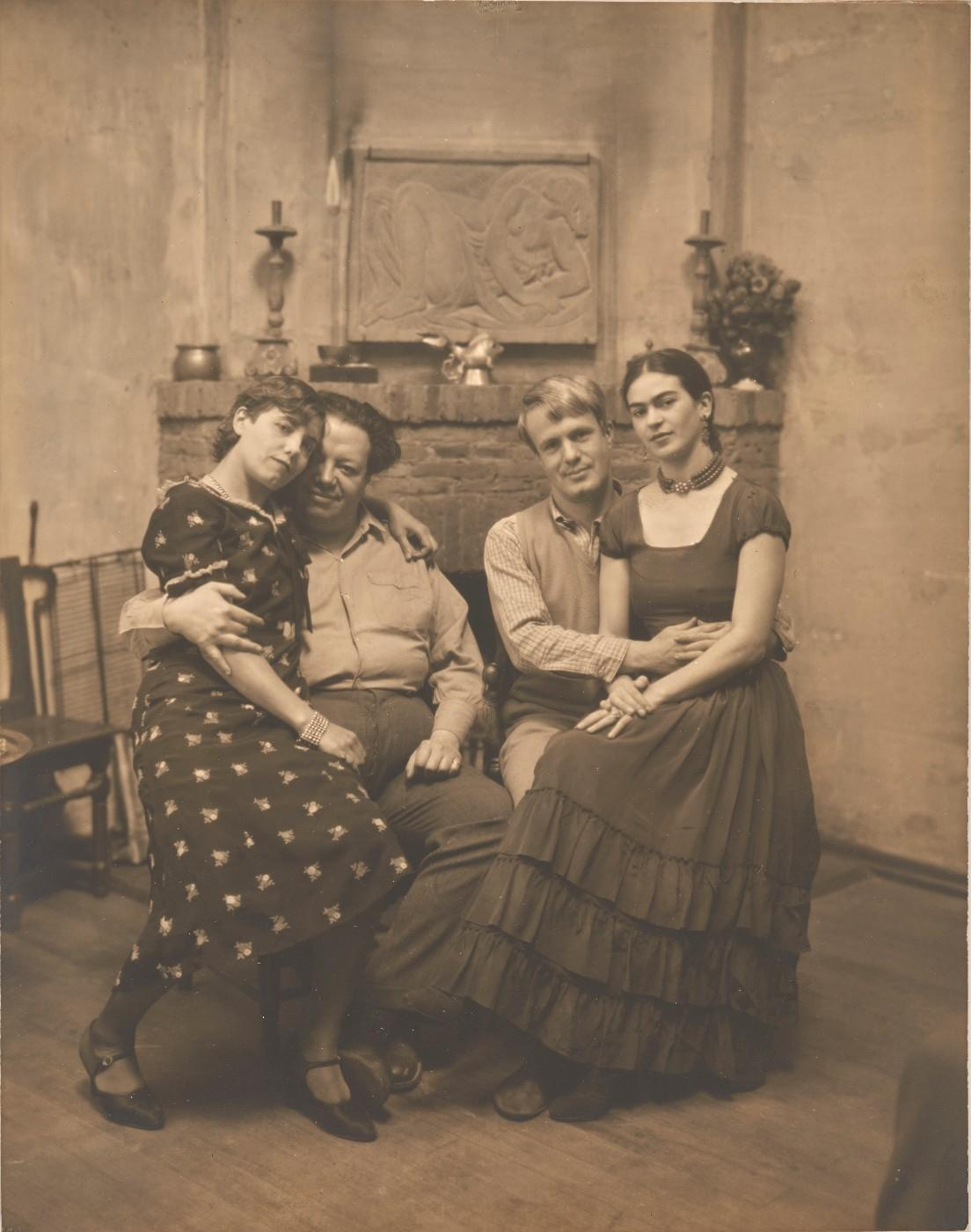 Diego Rivera and Frida Kahlo with Lucile and Arnold Blanch at Coyoacán, c. 1930, Peter A. Juley & Son