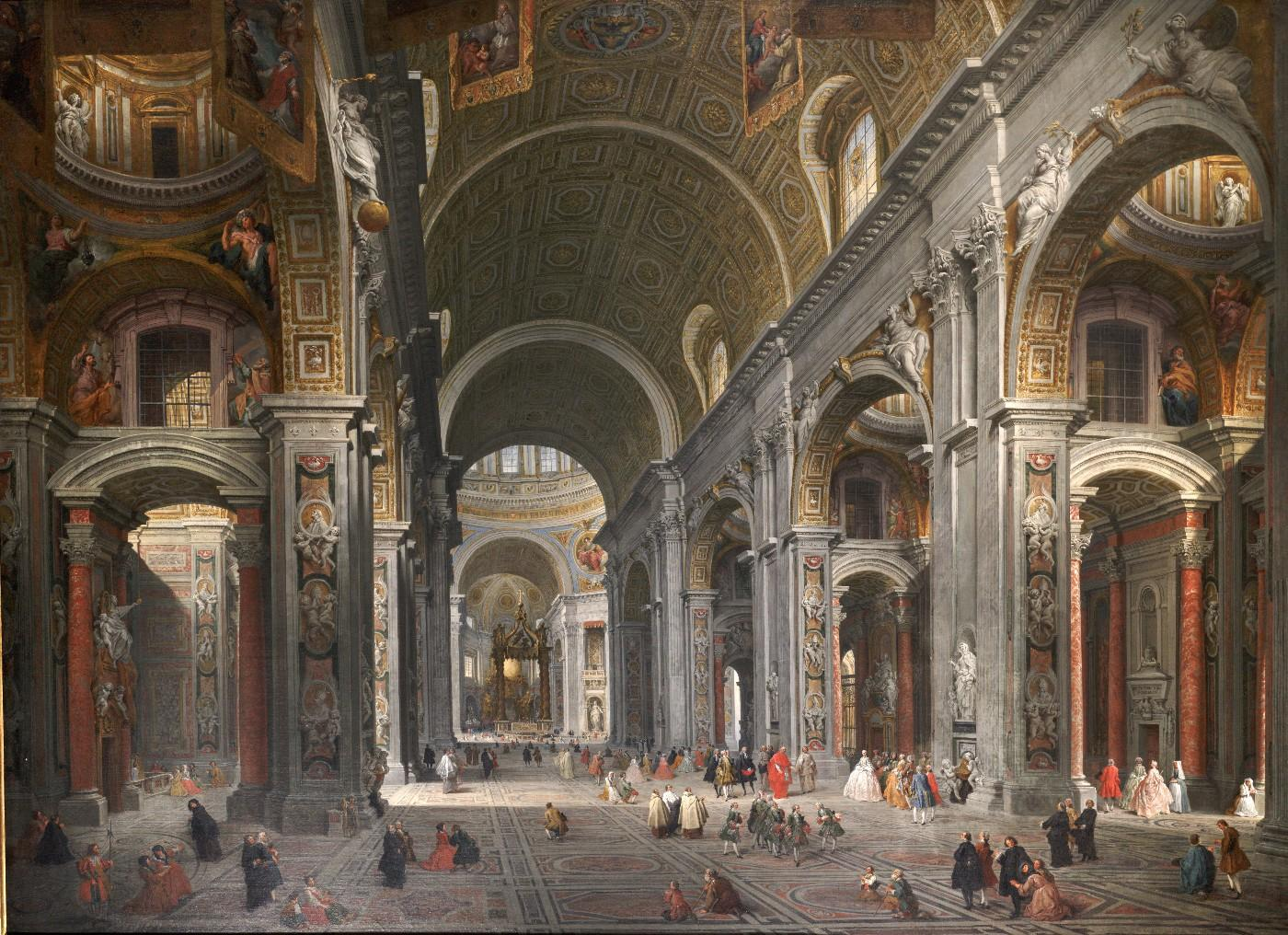 The Interior of St. Peter's during the Visit of the Duc de Choiseul, 1756–57. Giovanni Paolo Panini