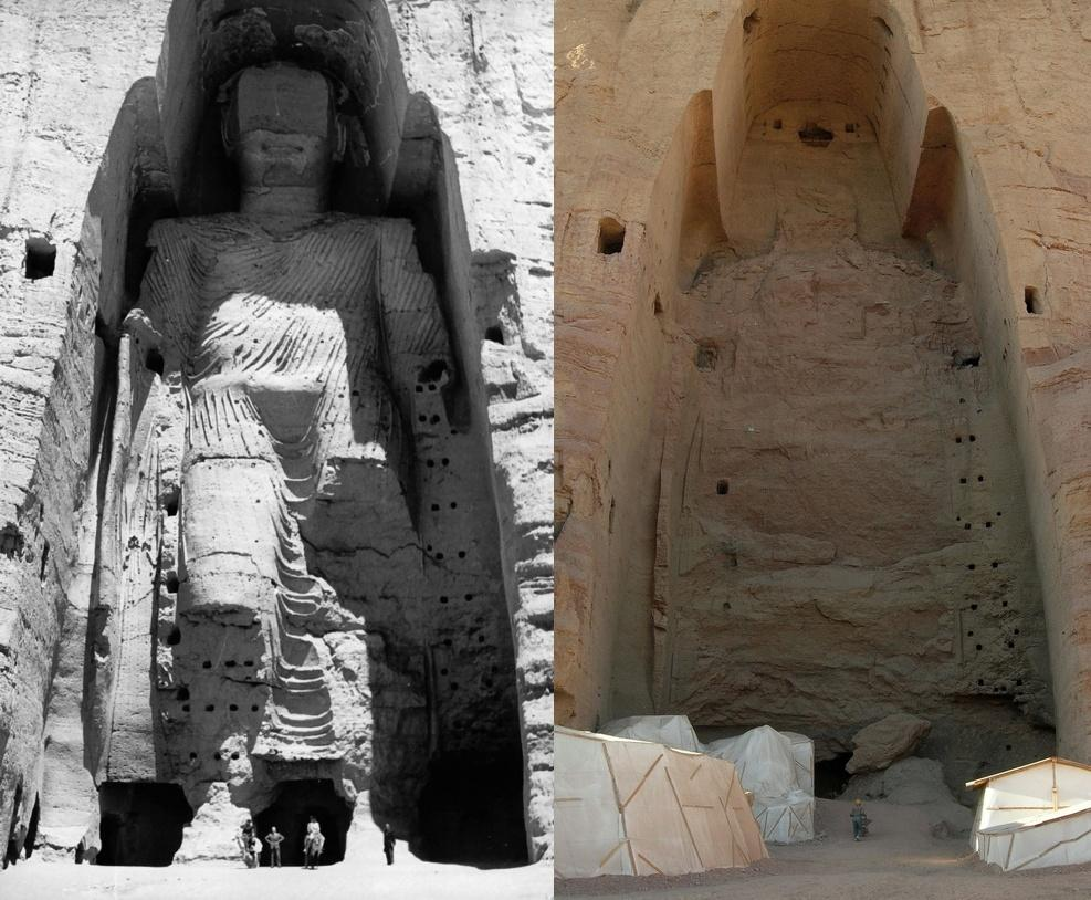 Buddhas of Bamiyan before and after bombing