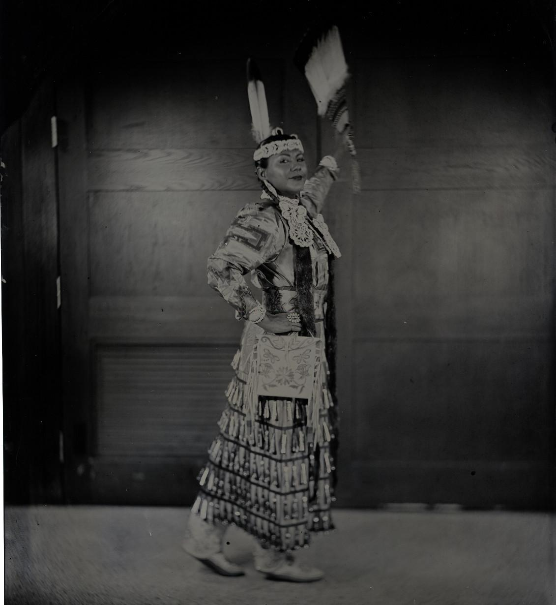 "Will Wilson, Diné, b. 1969, ""Talking Tintype, Madrienne Salgado, Jingle Dress Dancer/Government and Public Relations Manager for the Muckleshoot Indian Tribe, Citizen of the Muckleshoot Nation,"" 2018"