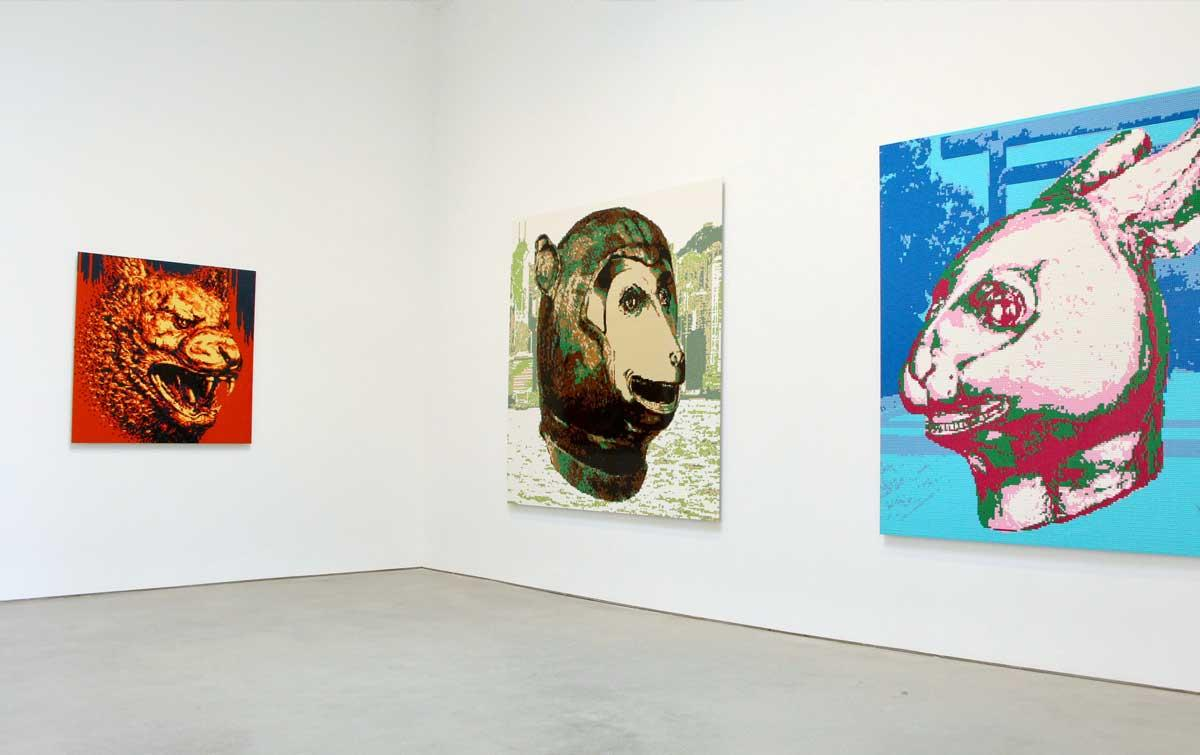 Installation view of Ai Weiwei: Zodiac at Jeffrey Deitch, Los Angeles