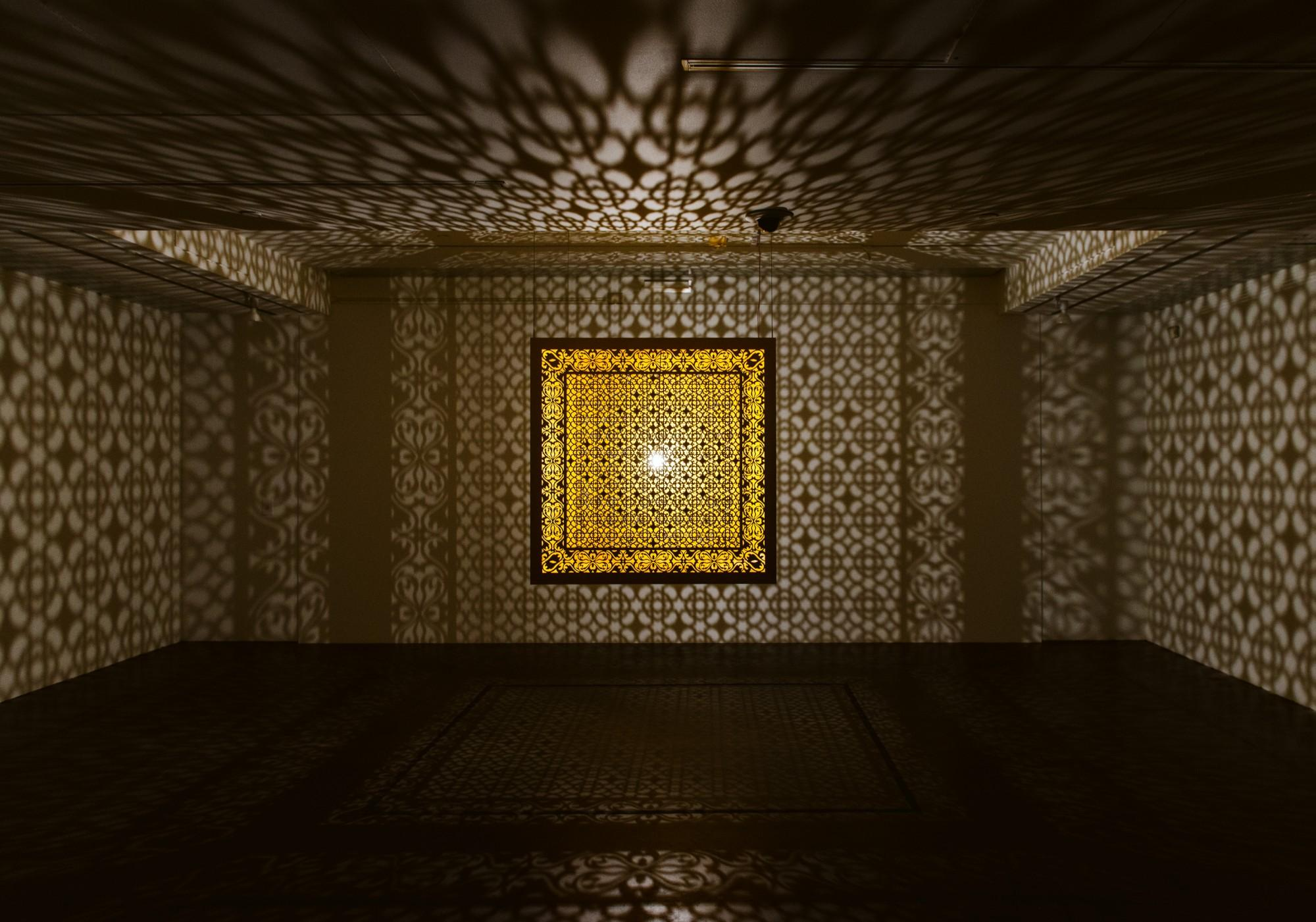 Anila Quayyum Agha, Hidden Diamond - Saffron, 2019, BCA Center.